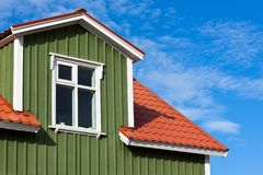 Residential Roof Top under the Bright Blue Sky Royalty Free Stock Images