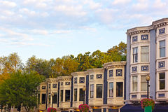 Residential row houses in Georgetown suburb of Washington DC, USA. Stock Photo