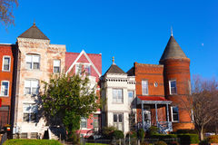 Residential row houses in US Capital in late autumn. Royalty Free Stock Photo