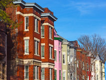 Residential row houses in US Capital before sunset. Stock Photos
