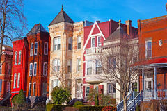 Residential row houses in US Capital during winter time. Stock Photo