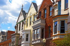Residential row houses in Washington DC, USA. Stock Photos