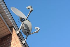 Residential satellite dishes Royalty Free Stock Image