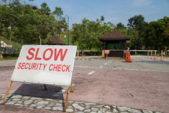 Residential security check point with boundary fencing Stock Image