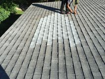 Residential Shingle Roof Leak Repairs; Roofer Royalty Free Stock Photos