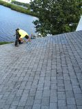 Residential Shingle Roof Repairs ; Roofer Royalty Free Stock Photos