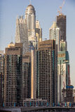 Residential skyscrapers and hotels at Dubai Marina taken on March 21, 2013 in Dubai, United Arab Emirates. DUBAI - MARCH 21, 2013: Residential skyscrapers and Stock Image
