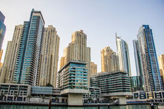 Residential skyscrapers and hotels at Dubai Marina taken on March 24, 2013 in Dubai, United Arab Emirates. DUBAI - MARCH 24, 2013: Residential skyscrapers and Stock Images