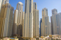 Residential skyscrapers and hotels at Dubai Marina taken on March 21, 2013 in Dubai, United Arab Emirates. Stock Image