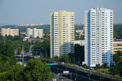 Residential skyscrapers in Katowice, Poland. (view from old mine shaft royalty free stock image