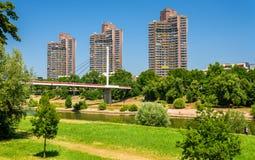 Residential skyscrapers and Neckar Footbridge in Mannheim, Germa Royalty Free Stock Images