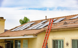 Residential Solar installiation on roof Stock Image