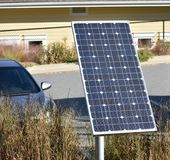 Residential solar panel for clean and renewable energy. Residential solar panel mounted on the ground for clean and renewable energy Stock Photo