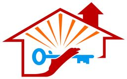 Residential solution emblem. Line art residential solution emblem design Stock Photos