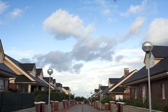 Residential street. At the sunset royalty free stock photography