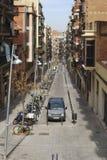 Residential street in Barcelona. Catalonia. Spain Stock Photos