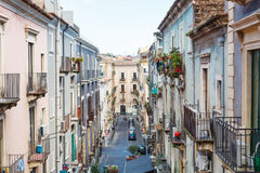 Residential street in Catania city, Sicily Royalty Free Stock Images