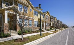 Residential street. Colorful town homes on residential street Stock Image