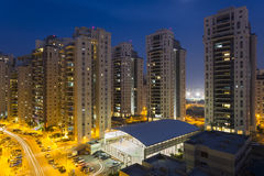 Residential street. With new  buildings at night Stock Photos