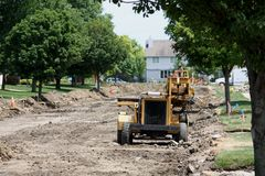 Residential Street Reconstruction Stock Image
