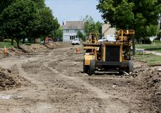 Residential Street Reconstruction Royalty Free Stock Photos
