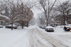Residential Street in Toronto Covered in Snow Royalty Free Stock Photo