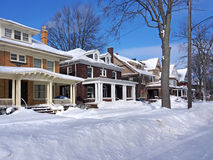 Residential street in winter Stock Images