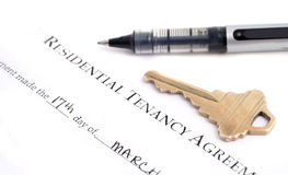 Residential tenancy agreement. Blank residential tenancy agreement with pen,and keys Royalty Free Stock Images
