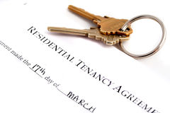 Residential tenancy agreement. Keys to the side Royalty Free Stock Image