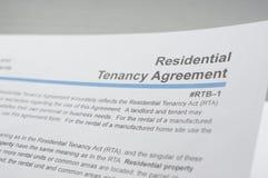Residential tenancy agreement. Macro reading residential tenancy agreement Stock Photography