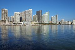 City of Miami and the Intracoastal Waterway, Florida. Residential towers on the Intracoastal Waterway and Biscayne Bay, Miami, Florida, on a calm autumn morning royalty free stock photos