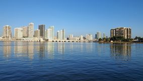 City of Miami and the Intracoastal Waterway, Florida. Residential towers on the Intracoastal Waterway and Biscayne Bay, Miami, Florida, on a calm autumn morning stock photos