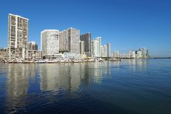 City of Miami and the Intracoastal Waterway, Florida. Residential towers on the Intracoastal Waterway and Biscayne Bay, Miami, Florida, on a calm autumn morning stock photo