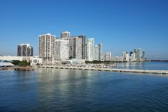 City of Miami and the Intracoastal Waterway, Florida. Residential towers on the Intracoastal Waterway and Biscayne Bay, Miami, Florida, on a calm autumn morning stock image