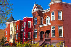 Residential townhouses of suburban Washington DC in spring. Colorful urban architecture of Shaw neighborhood in US capital Stock Images
