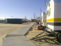 Residential trailers for shift workers in the oil field. The car-house. Residential infrastructure for oil workers for rest outsid Royalty Free Stock Images