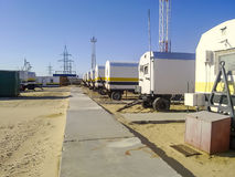 Residential trailers for shift workers in the oil field. The car-house. Residential infrastructure for oil workers for rest outsid Stock Images