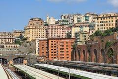 Genoa city skyline view. Stock Photos