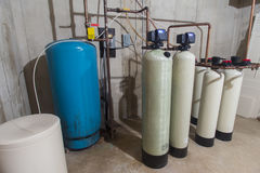 Residential water filtration. Water filtration system in a home for well water Stock Photography