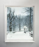 Residential window with snowy park. View Royalty Free Stock Photos
