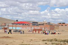 Residents of a Bolivian mountain village play football Royalty Free Stock Images