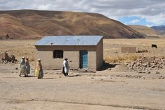 Residents of the Bolivian mountain villages in the Altiplano Stock Photo