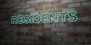 RESIDENTS - Glowing Neon Sign on stonework wall - 3D rendered royalty free stock illustration Royalty Free Stock Photo