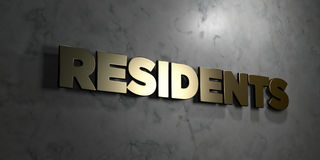 Residents - Gold sign mounted on glossy marble wall  - 3D rendered royalty free stock illustration Royalty Free Stock Image