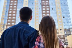 Residents of New Apartment Complex stock images