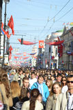 Residents of Petersburg walk along Nevsky Prospect Royalty Free Stock Photography