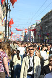 Residents of Petersburg walk along Nevsky Prospect Stock Image