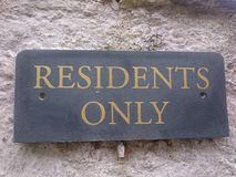 Residents Only Sign Royalty Free Stock Image