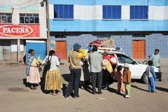 Residents of the  on street town of San Pablo. Stock Photos
