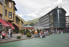 Residents and tourists stroll through the streets in Andorra l royalty free stock image
